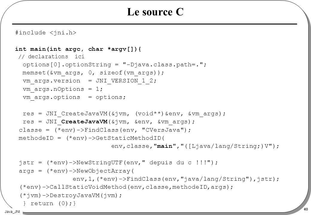 Java_JNI 40 Le source C #include int main(int argc, char *argv[]){ // declarations ici options[0].optionString =