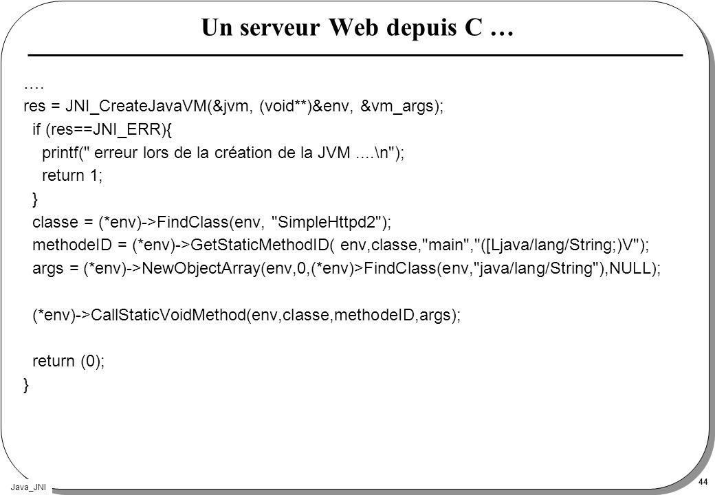 Java_JNI 44 Un serveur Web depuis C … …. res = JNI_CreateJavaVM(&jvm, (void**)&env, &vm_args); if (res==JNI_ERR){ printf(