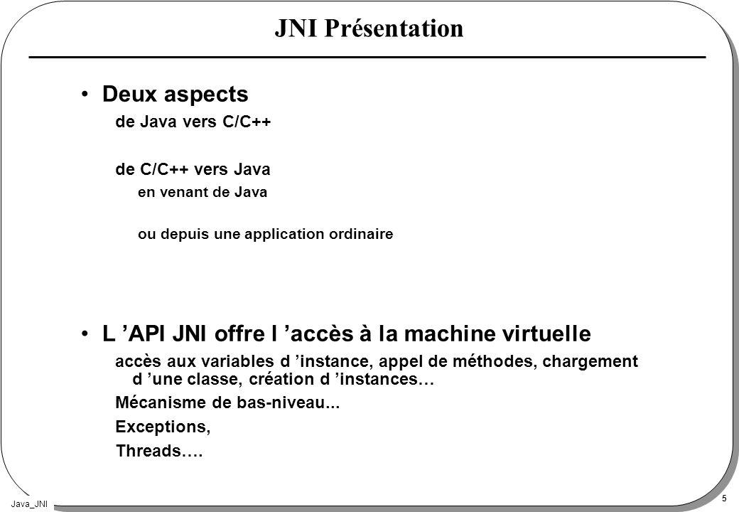 Java_JNI 5 JNI Présentation Deux aspects de Java vers C/C++ de C/C++ vers Java en venant de Java ou depuis une application ordinaire L API JNI offre l