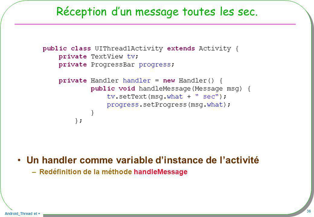 Android_Thread et + 36 Réception dun message toutes les sec. Un handler comme variable dinstance de lactivité –Redéfinition de la méthode handleMessag
