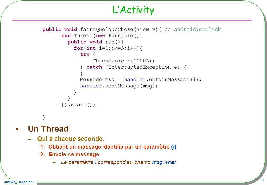 Android_Thread et + 37 LActivity Un Thread –Qui à chaque seconde, 1.Obtient un message identifié par un paramètre (i) 2.Envoie ce message –Le paramètr