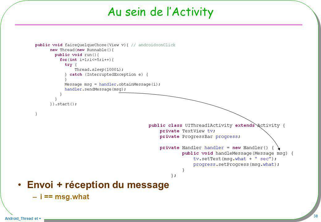 Android_Thread et + 38 Au sein de lActivity Envoi + réception du message –i == msg.what