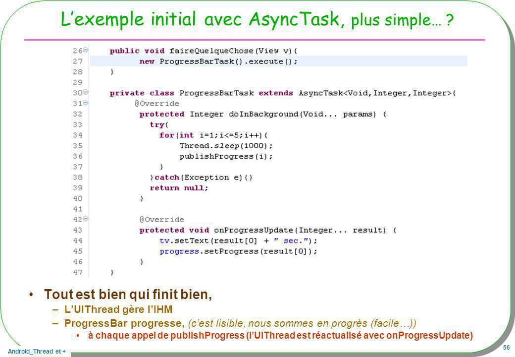 Android_Thread et + 56 Lexemple initial avec AsyncTask, plus simple… ? Tout est bien qui finit bien, –LUIThread gère lIHM –ProgressBar progresse, (ces