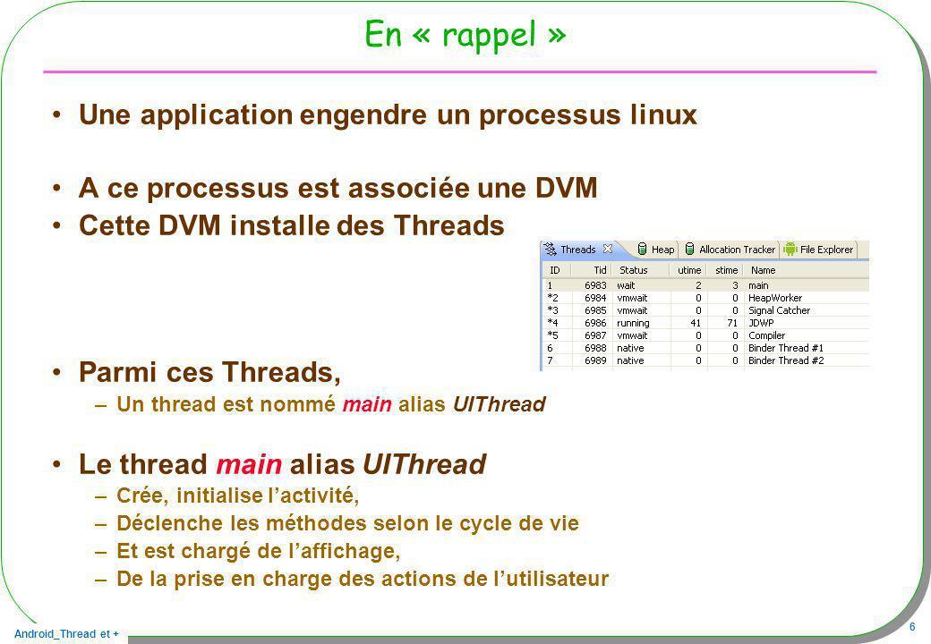 Android_Thread et + 6 En « rappel » Une application engendre un processus linux A ce processus est associée une DVM Cette DVM installe des Threads Par