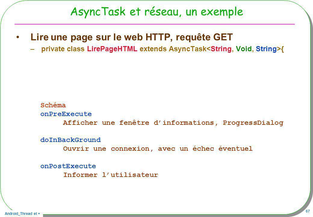 Android_Thread et + 67 AsyncTask et réseau, un exemple Lire une page sur le web HTTP, requête GET –private class LirePageHTML extends AsyncTask { Sché