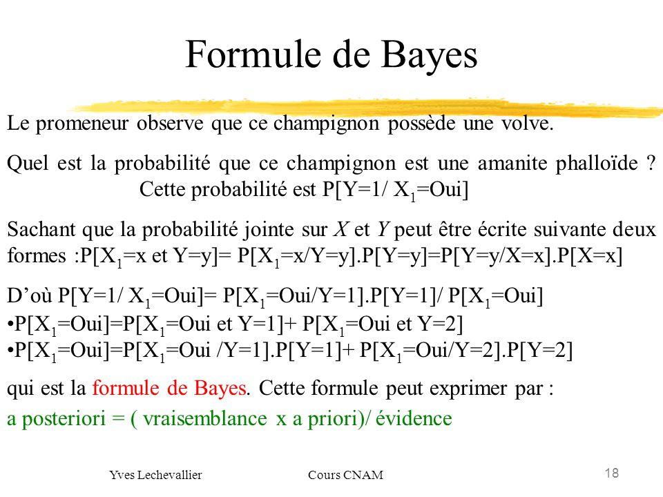 18 Yves Lechevallier Cours CNAM Formule de Bayes Le promeneur observe que ce champignon possède une volve. Quel est la probabilité que ce champignon e