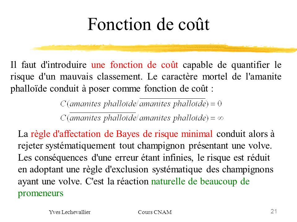 21 Yves Lechevallier Cours CNAM Fonction de coût Il faut d'introduire une fonction de coût capable de quantifier le risque d'un mauvais classement. Le