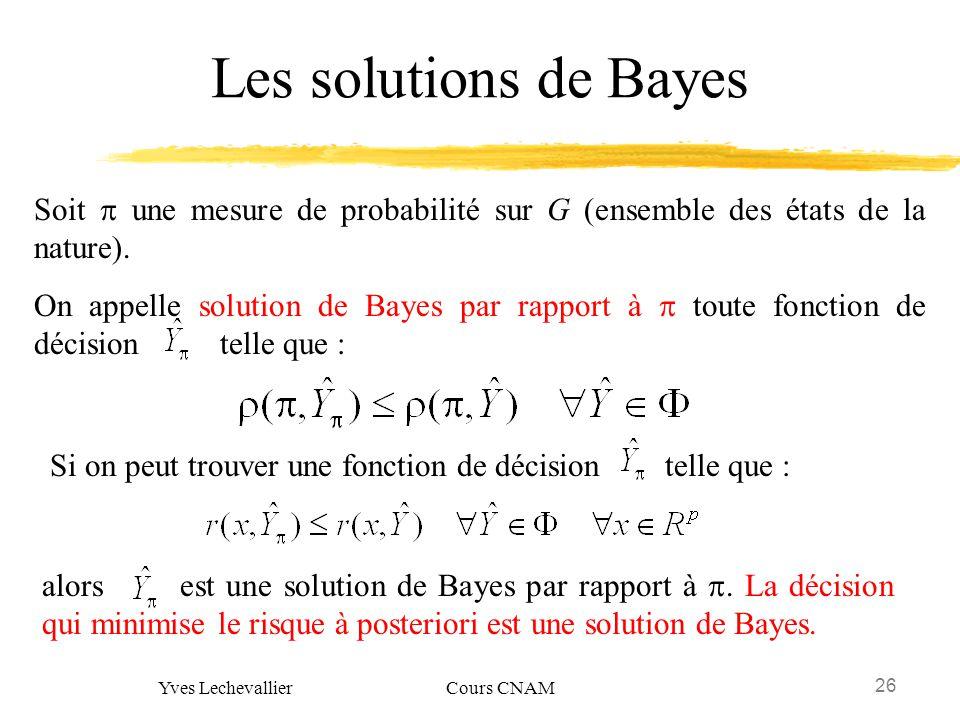 26 Yves Lechevallier Cours CNAM Les solutions de Bayes Soit une mesure de probabilité sur G (ensemble des états de la nature). On appelle solution de