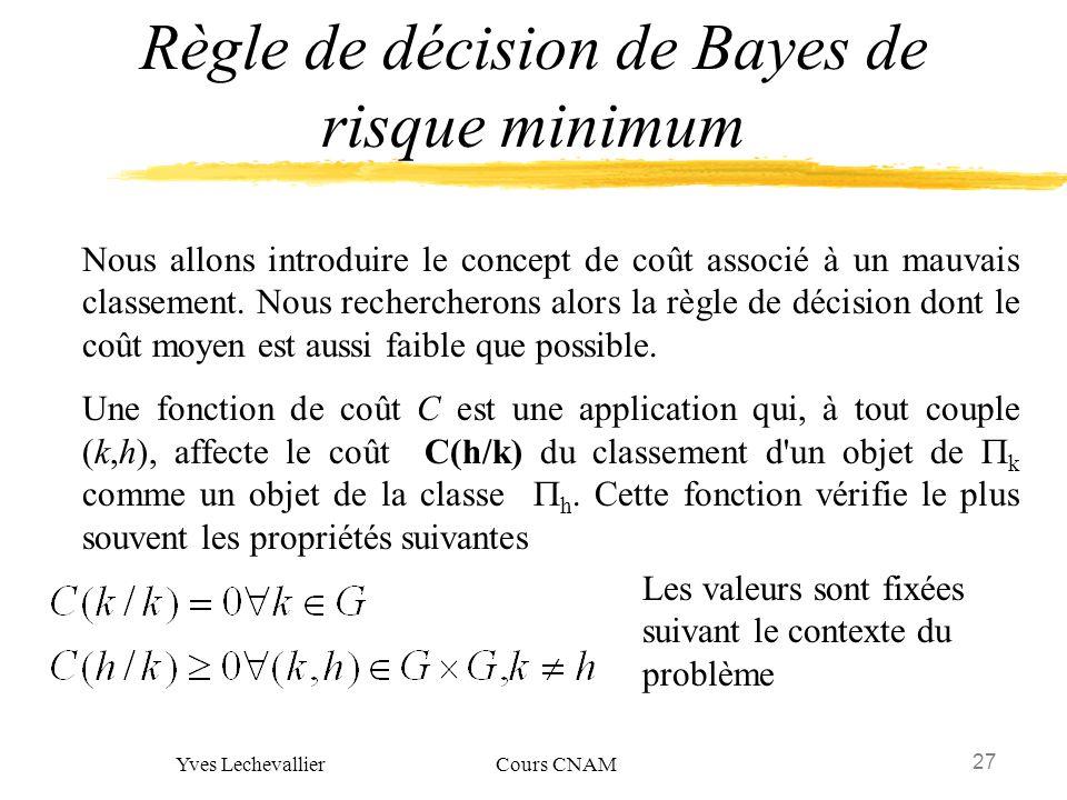 27 Yves Lechevallier Cours CNAM Règle de décision de Bayes de risque minimum Nous allons introduire le concept de coût associé à un mauvais classement