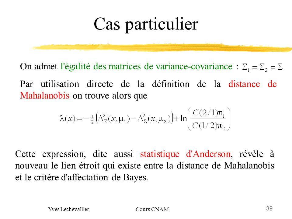 39 Yves Lechevallier Cours CNAM Cas particulier On admet l'égalité des matrices de variance-covariance : Par utilisation directe de la définition de l