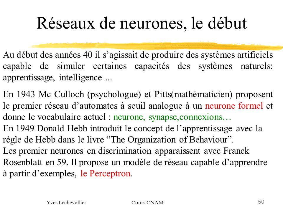 50 Yves Lechevallier Cours CNAM Réseaux de neurones, le début Au début des années 40 il sagissait de produire des systèmes artificiels capable de simu