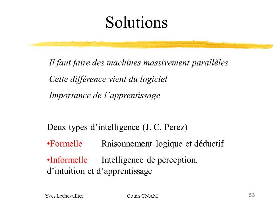 53 Yves Lechevallier Cours CNAM Solutions Il faut faire des machines massivement parallèles Cette différence vient du logiciel Importance de lapprenti