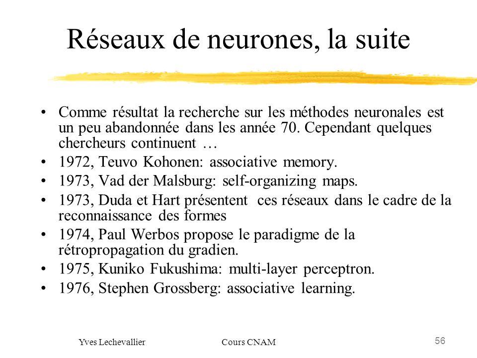 56 Yves Lechevallier Cours CNAM Réseaux de neurones, la suite Comme résultat la recherche sur les méthodes neuronales est un peu abandonnée dans les a