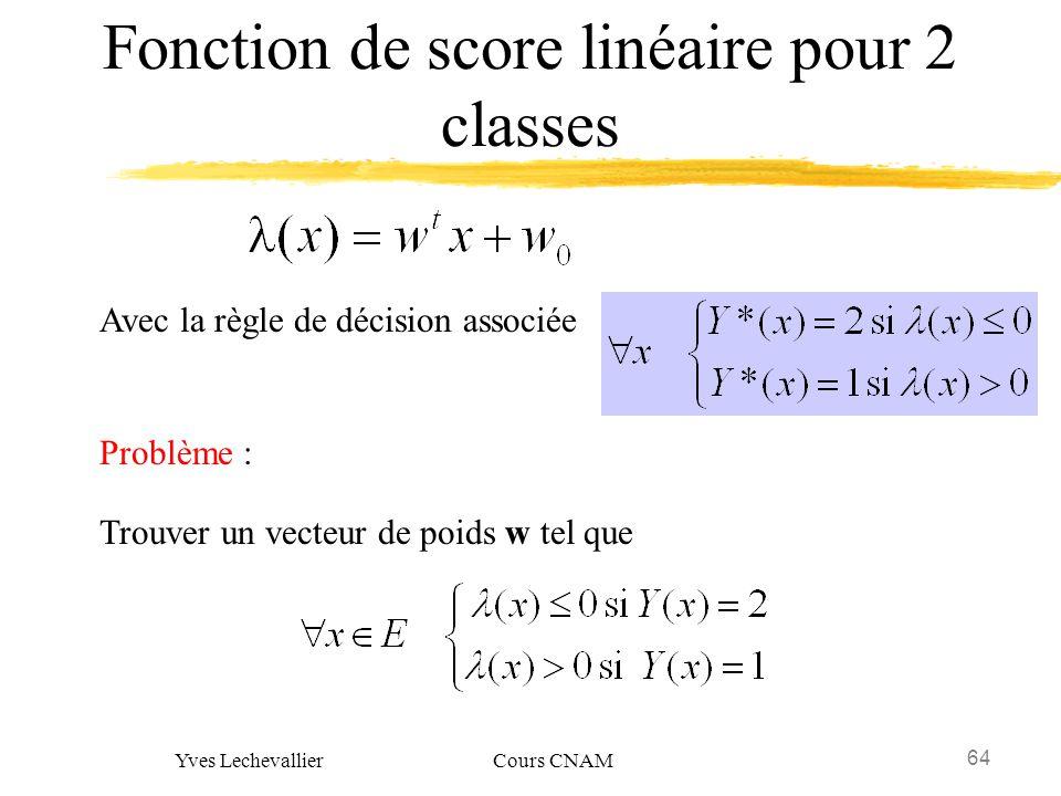 64 Yves Lechevallier Cours CNAM Fonction de score linéaire pour 2 classes Avec la règle de décision associée Problème : Trouver un vecteur de poids w