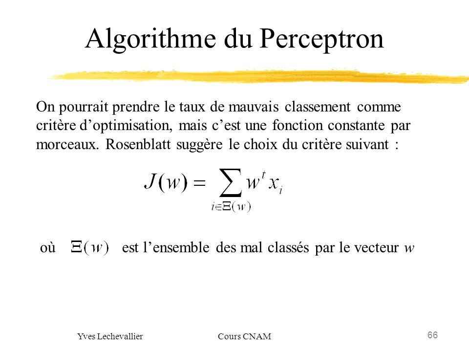 66 Yves Lechevallier Cours CNAM Algorithme du Perceptron On pourrait prendre le taux de mauvais classement comme critère doptimisation, mais cest une