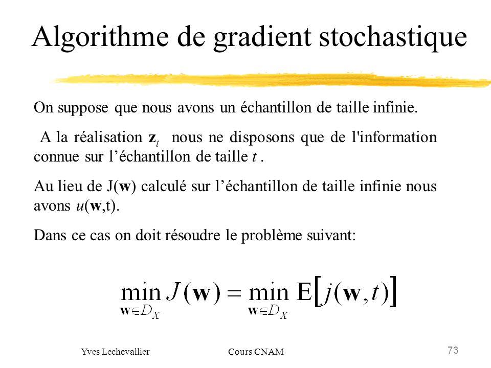 73 Yves Lechevallier Cours CNAM Algorithme de gradient stochastique On suppose que nous avons un échantillon de taille infinie. A la réalisation z t n