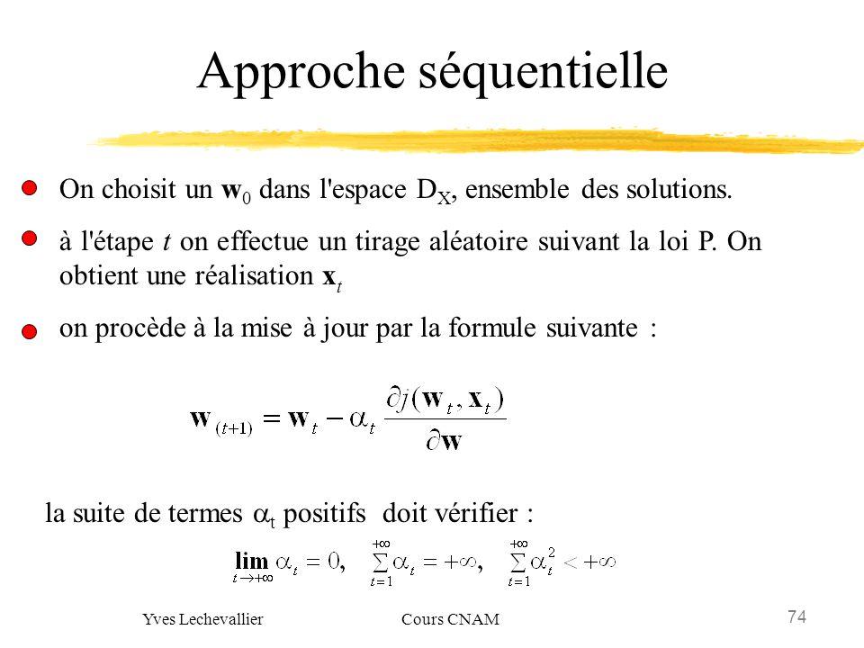 74 Yves Lechevallier Cours CNAM Approche séquentielle On choisit un w 0 dans l'espace D X, ensemble des solutions. à l'étape t on effectue un tirage a