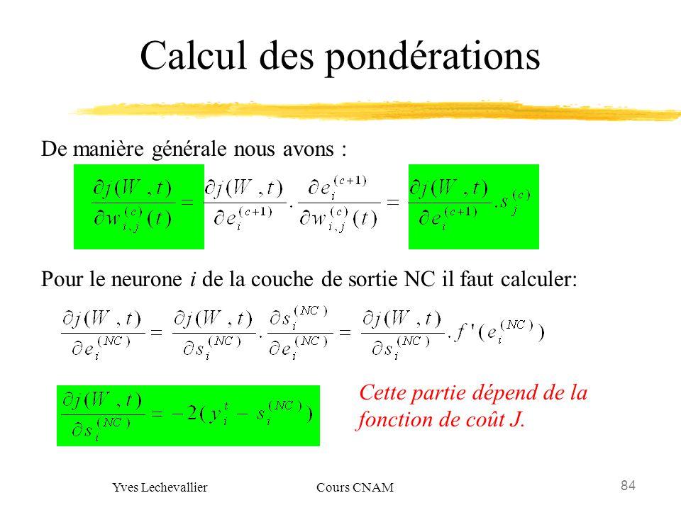 84 Yves Lechevallier Cours CNAM Calcul des pondérations Pour le neurone i de la couche de sortie NC il faut calculer: De manière générale nous avons :
