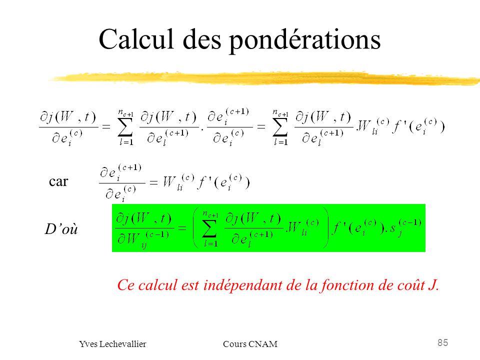 85 Yves Lechevallier Cours CNAM Calcul des pondérations car Doù Ce calcul est indépendant de la fonction de coût J.