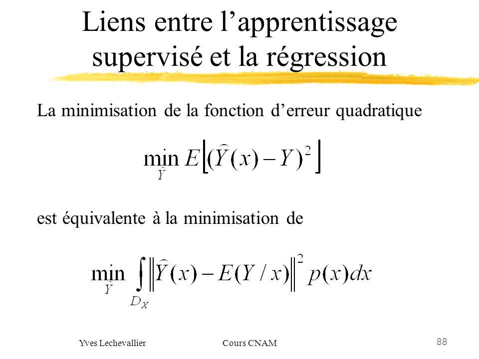 88 Yves Lechevallier Cours CNAM Liens entre lapprentissage supervisé et la régression La minimisation de la fonction derreur quadratique est équivalen