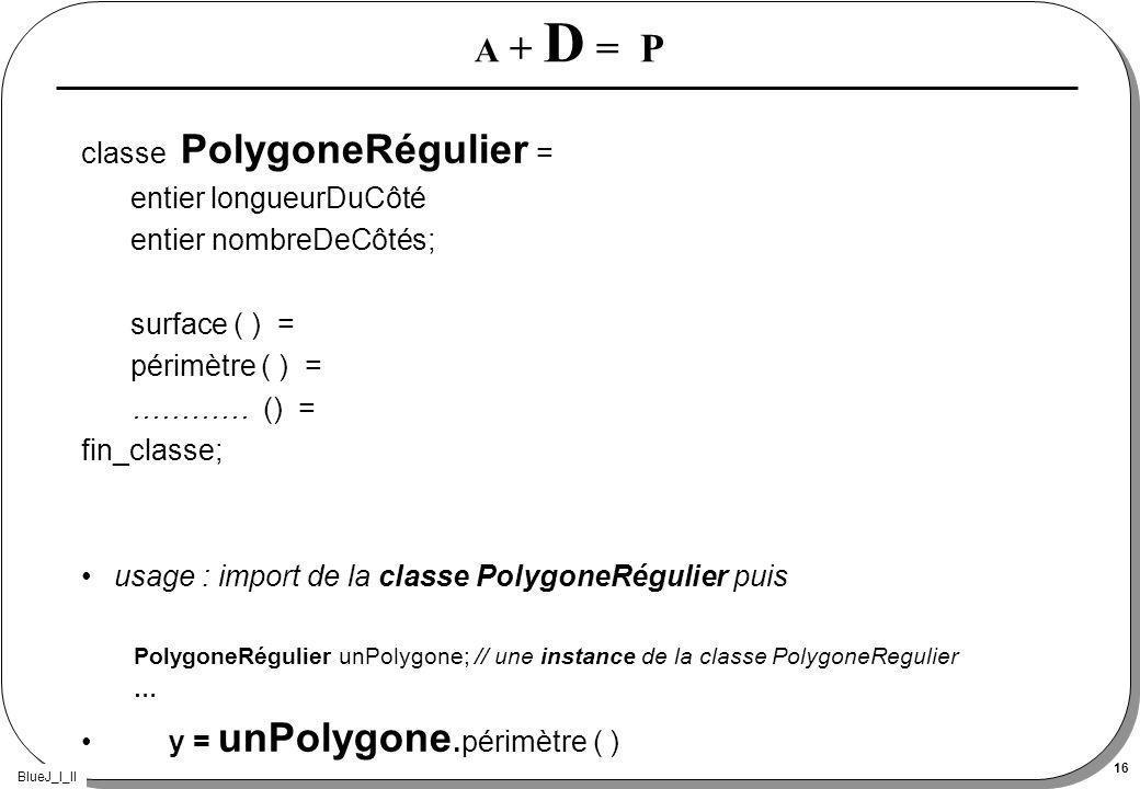 BlueJ_I_II 16 A + D = P classe PolygoneRégulier = entier longueurDuCôté entier nombreDeCôtés; surface ( ) = périmètre ( ) = ………… () = fin_classe; usage : import de la classe PolygoneRégulier puis PolygoneRégulier unPolygone; // une instance de la classe PolygoneRegulier … y = unPolygone.périmètre ( )