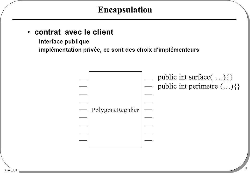BlueJ_I_II 18 Encapsulation contrat avec le client interface publique implémentation privée, ce sont des choix d implémenteurs PolygoneRégulier public int surface( …){} public int perimetre (…){}
