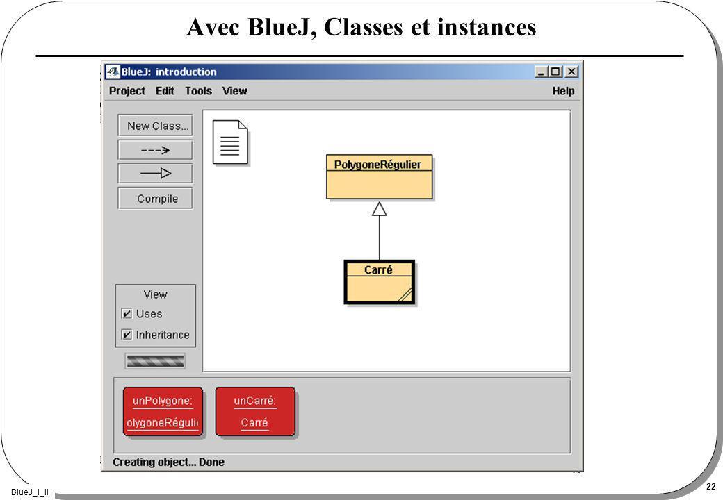 BlueJ_I_II 22 Avec BlueJ, Classes et instances