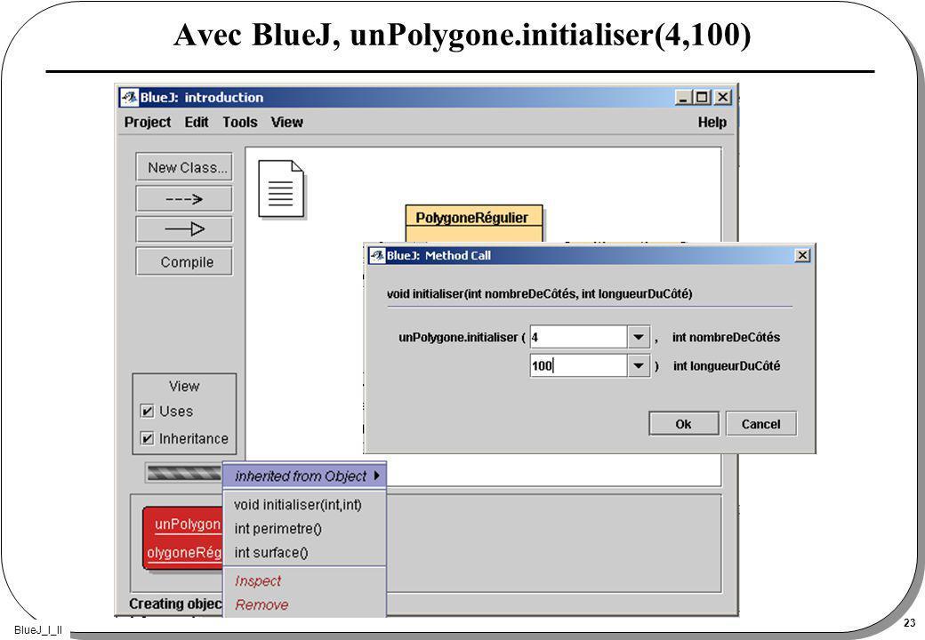 BlueJ_I_II 23 Avec BlueJ, unPolygone.initialiser(4,100)