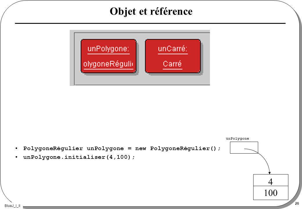 BlueJ_I_II 26 Objet et référence PolygoneRégulier unPolygone = new PolygoneRégulier(); unPolygone.initialiser(4,100); 4 100 unPolygone