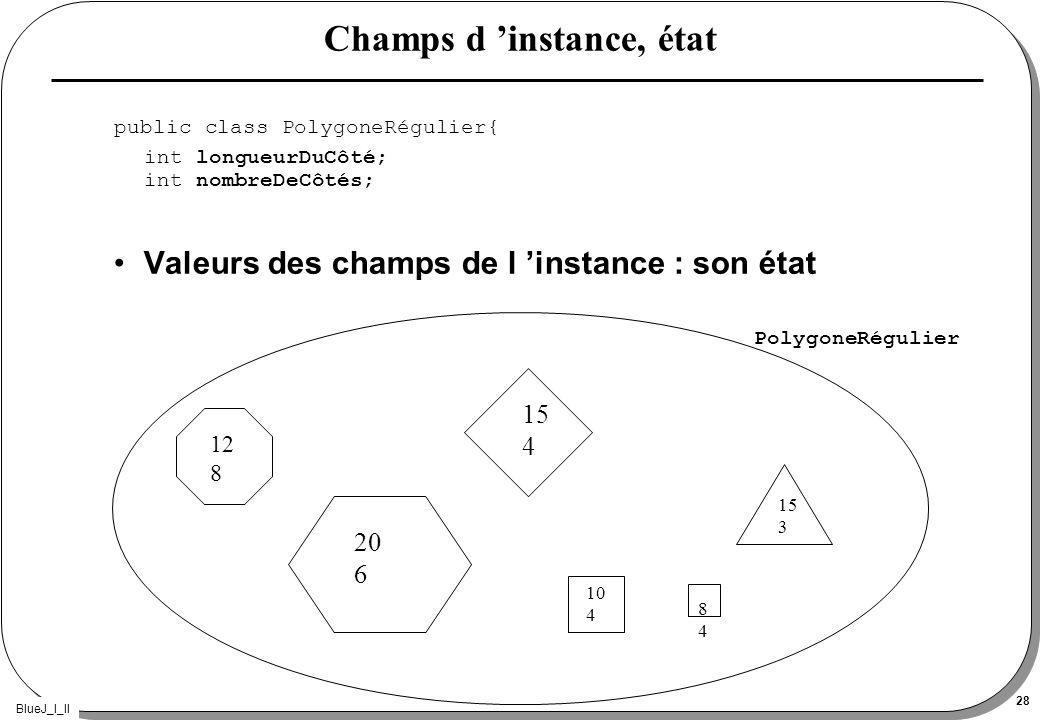 BlueJ_I_II 28 Champs d instance, état public class PolygoneRégulier{ int longueurDuCôté; int nombreDeCôtés; Valeurs des champs de l instance : son état 12 8 20 6 15 4 10 4 8484 15 3 PolygoneRégulier