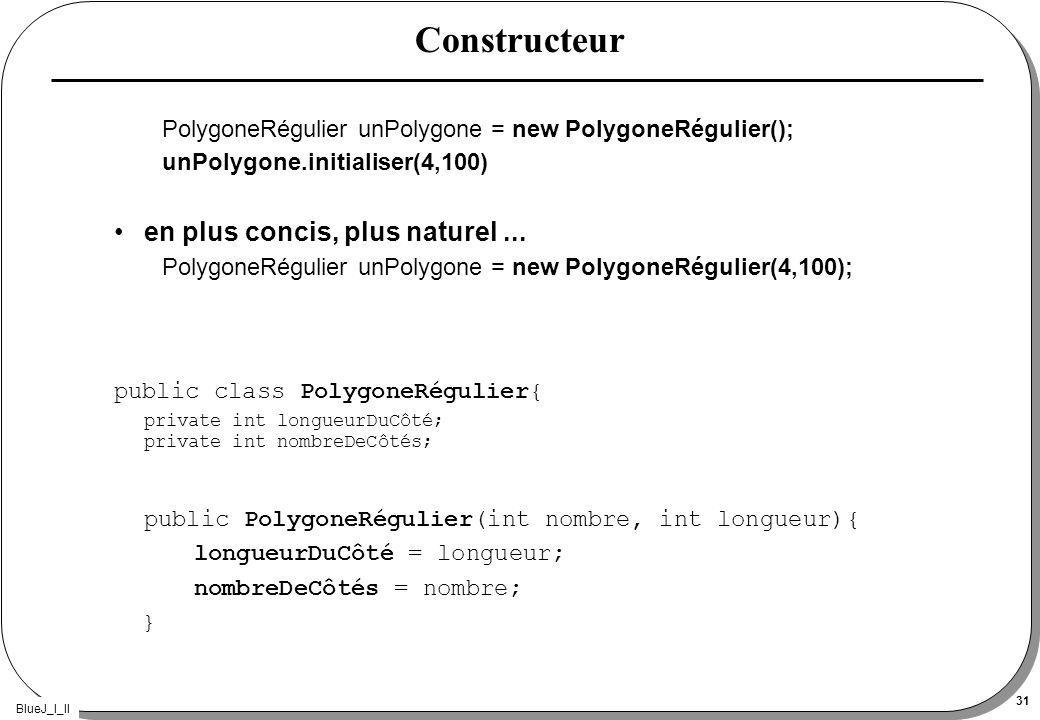 BlueJ_I_II 31 Constructeur PolygoneRégulier unPolygone = new PolygoneRégulier(); unPolygone.initialiser(4,100) en plus concis, plus naturel... Polygon