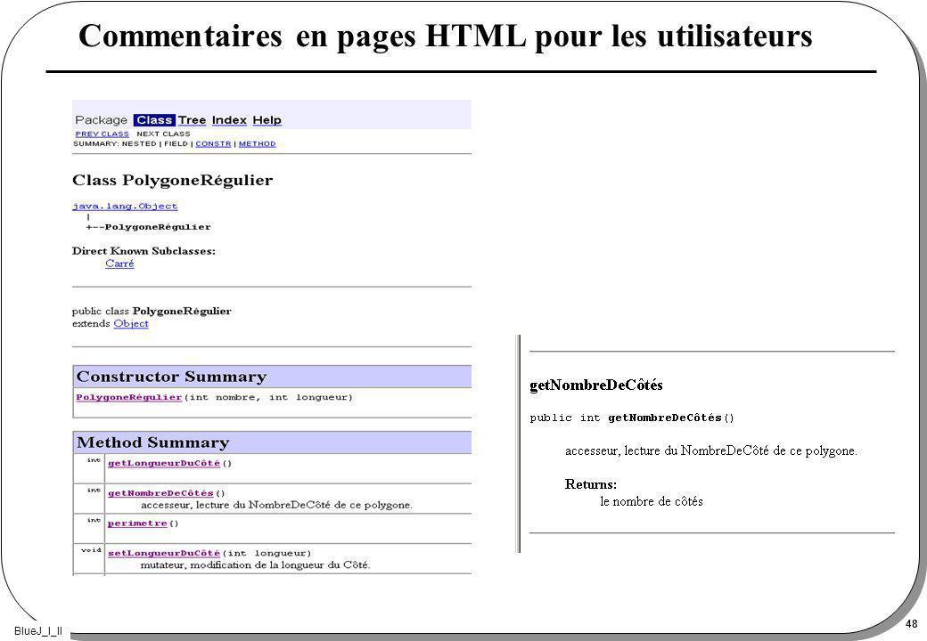 BlueJ_I_II 48 Commentaires en pages HTML pour les utilisateurs
