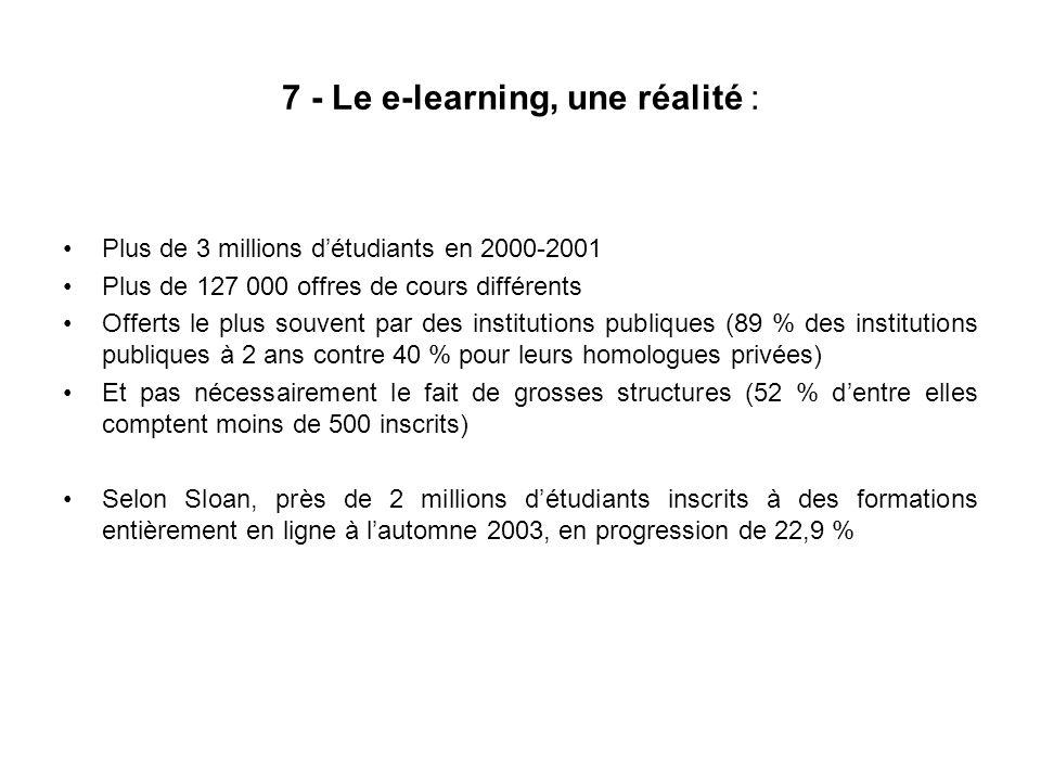 7 - Le e-learning, une réalité : Plus de 3 millions détudiants en 2000-2001 Plus de 127 000 offres de cours différents Offerts le plus souvent par des