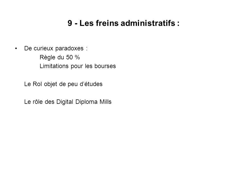 9 - Les freins administratifs : De curieux paradoxes : Règle du 50 % Limitations pour les bourses Le RoI objet de peu détudes Le rôle des Digital Dipl