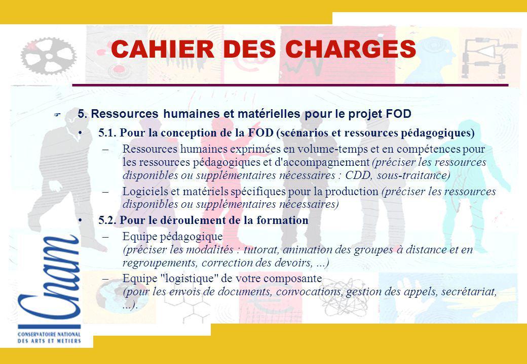 CAHIER DES CHARGES 5.Ressources humaines et matérielles pour le projet FOD 5.1.