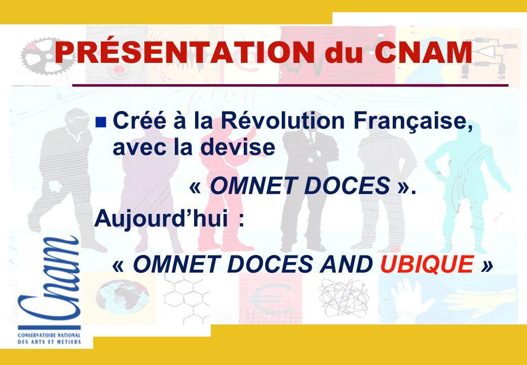 PRÉSENTATION du CNAM Créé à la Révolution Française, avec la devise « OMNET DOCES ».