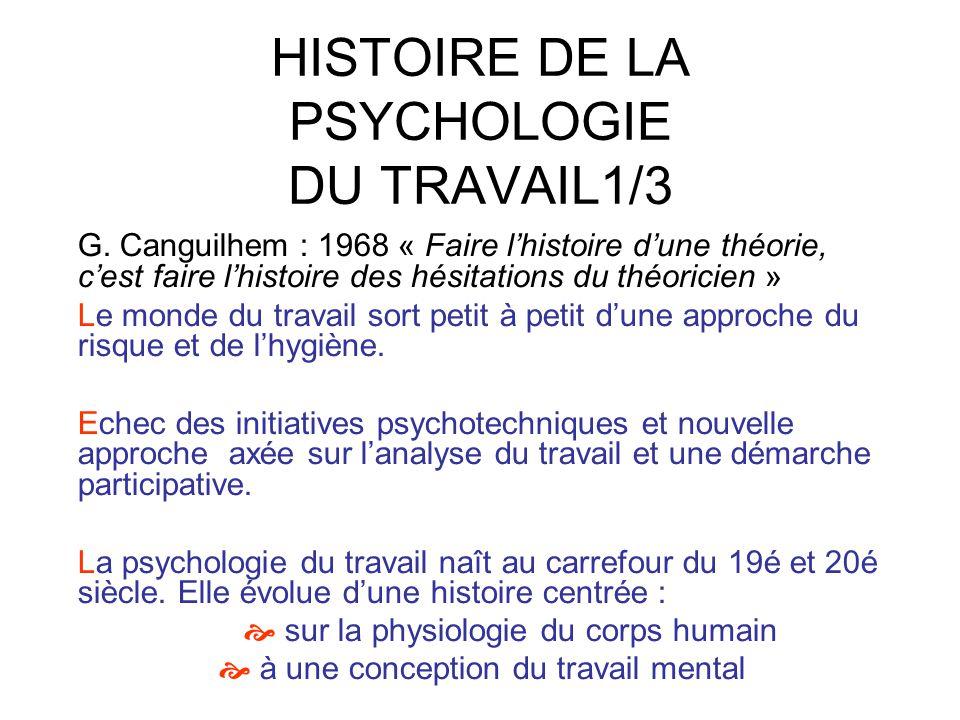 HISTOIRE DE LA PSYCHOLOGIE DU TRAVAIL1/3 G. Canguilhem : 1968 « Faire lhistoire dune théorie, cest faire lhistoire des hésitations du théoricien » Le