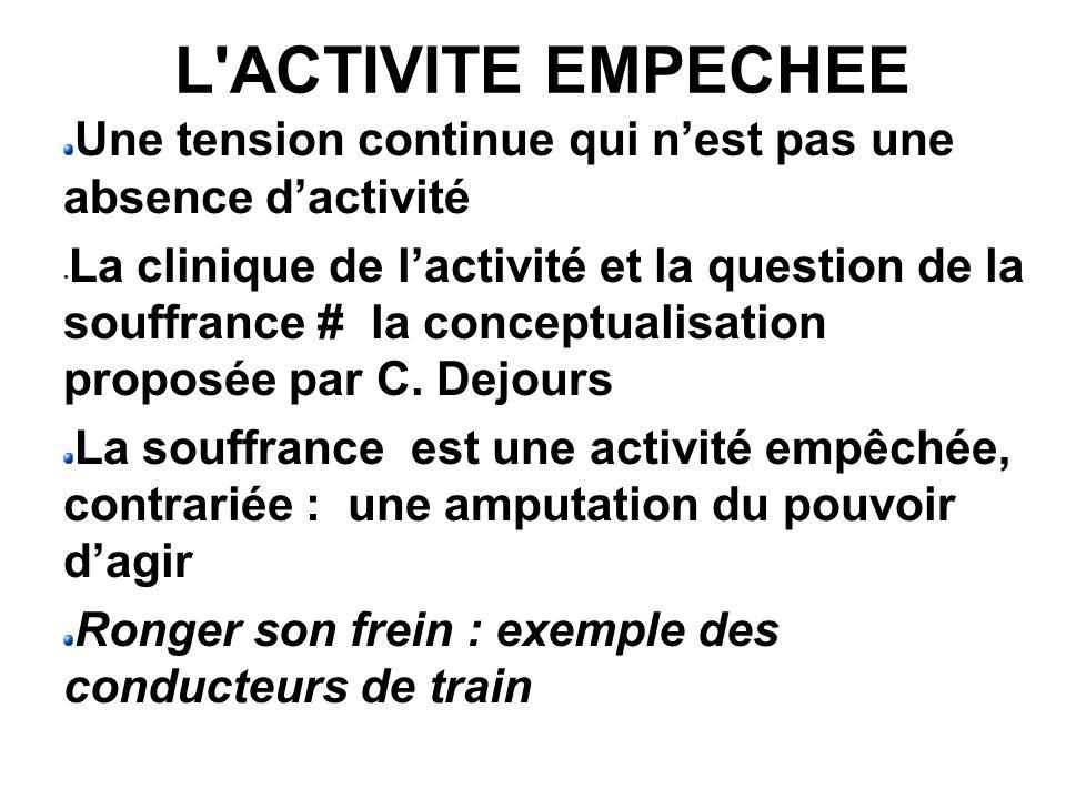 L'ACTIVITE EMPECHEE Une tension continue qui nest pas une absence dactivité La clinique de lactivité et la question de la souffrance # la conceptualis