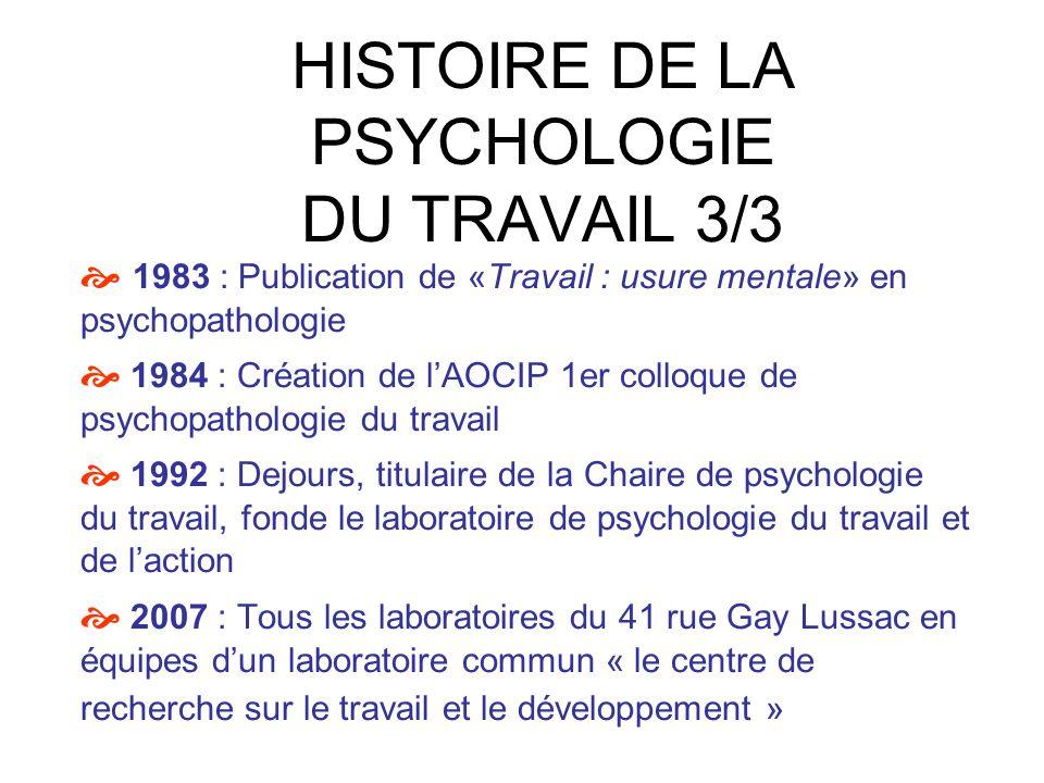HISTOIRE DE LA PSYCHOLOGIE DU TRAVAIL 3/3 1983 : Publication de «Travail : usure mentale» en psychopathologie 1984 : Création de lAOCIP 1er colloque d