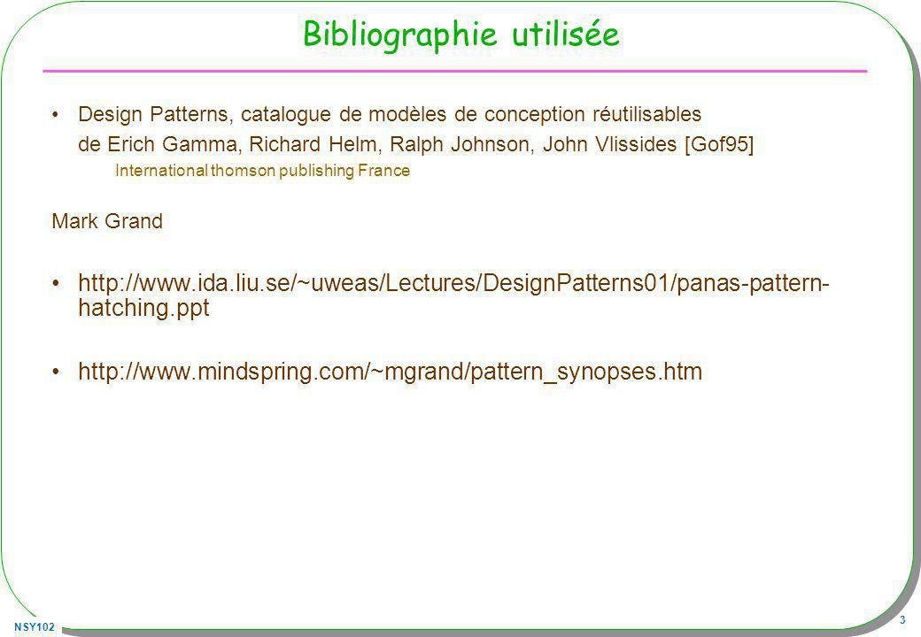 NSY102 3 Bibliographie utilisée Design Patterns, catalogue de modèles de conception réutilisables de Erich Gamma, Richard Helm, Ralph Johnson, John Vl