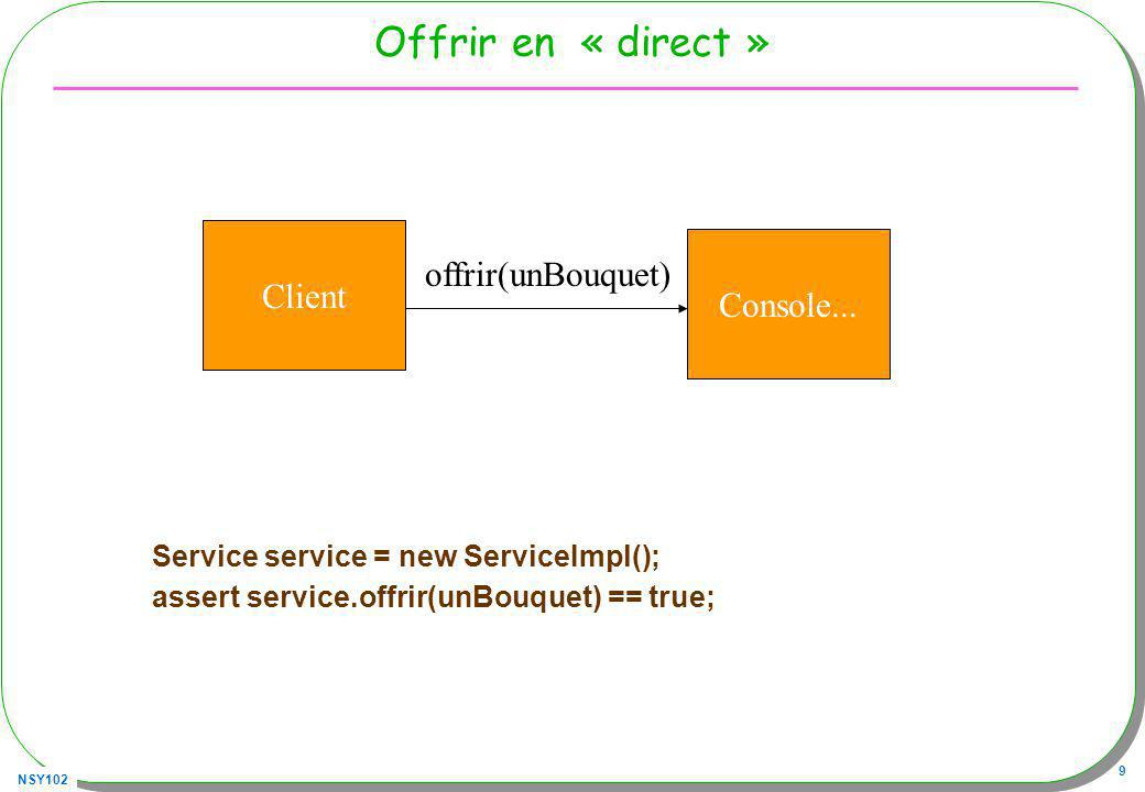 NSY102 20 Dynamic Proxy ClassLoader cl = Service.class.getClassLoader(); Service service = (Service) Proxy.newProxyInstance(cl, new Class[]{Service.class}, new DynamicEtProxy()); service.offrir(unBouquet); Client Console...