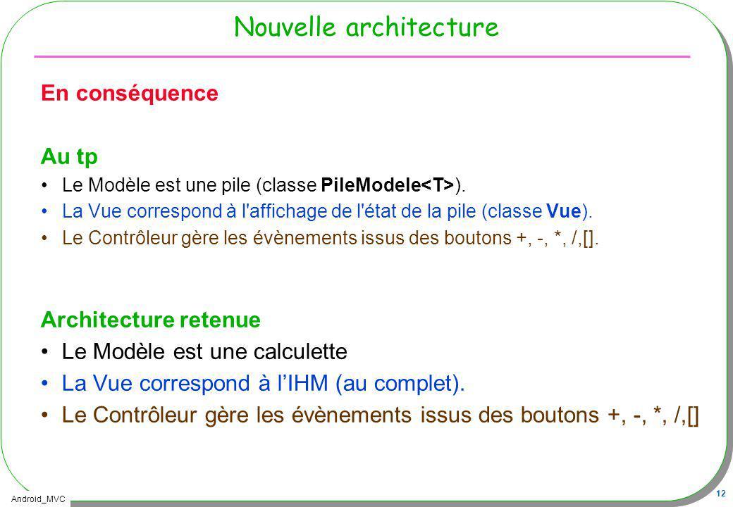 Android_MVC 12 Nouvelle architecture En conséquence Au tp Le Modèle est une pile (classe PileModele ). La Vue correspond à l'affichage de l'état de la