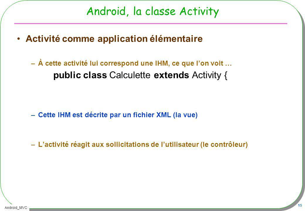 Android_MVC 15 Android, la classe Activity Activité comme application élémentaire –À cette activité lui correspond une IHM, ce que lon voit … public c