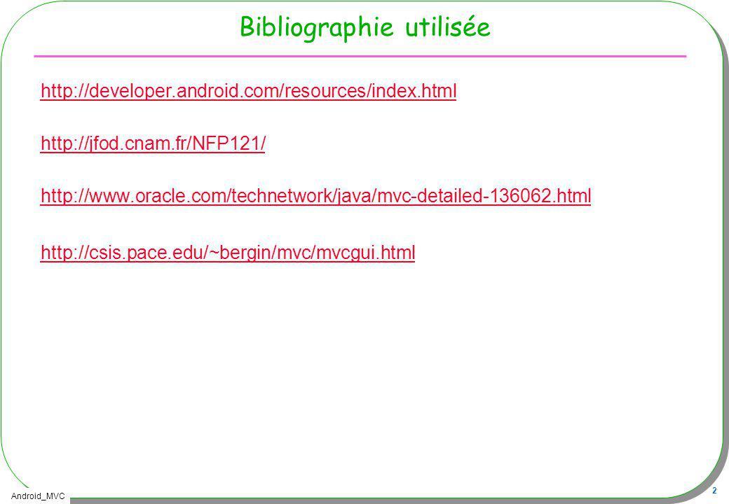 Android_MVC 13 Architecture retenue Le Modèle –La calculette munie de ses opérations (+,-,/,*,…) Hérite de la classe java.util.Observable Les sources du modèle sont ici –http://douin.free.fr/tp4Calculette/http://douin.free.fr/tp4Calculette/ La Vue –LIHM affichage, zone de saisie, boutons … Implémente java.util.Observer Le Contrôleur –Réalisation, implémentation des listeners, (le comportement de lIHM) Implémente plusieurs ActionListener -> pour Android, quel découpage ?, quelles classes ?