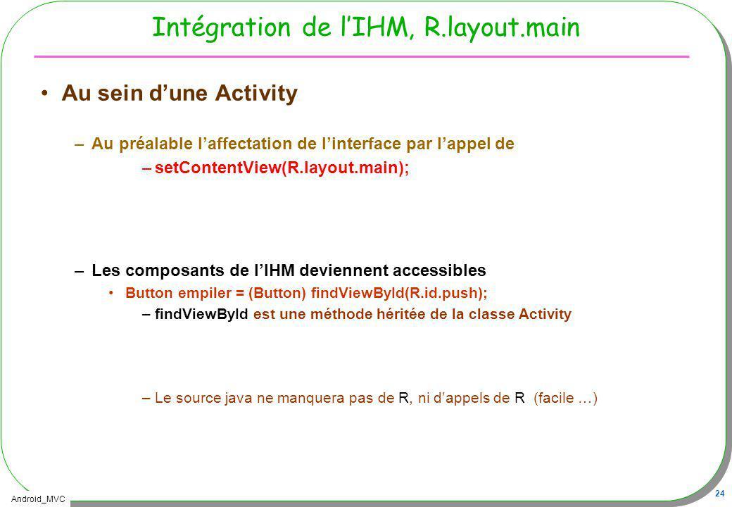 Android_MVC 24 Intégration de lIHM, R.layout.main Au sein dune Activity –Au préalable laffectation de linterface par lappel de –setContentView(R.layou
