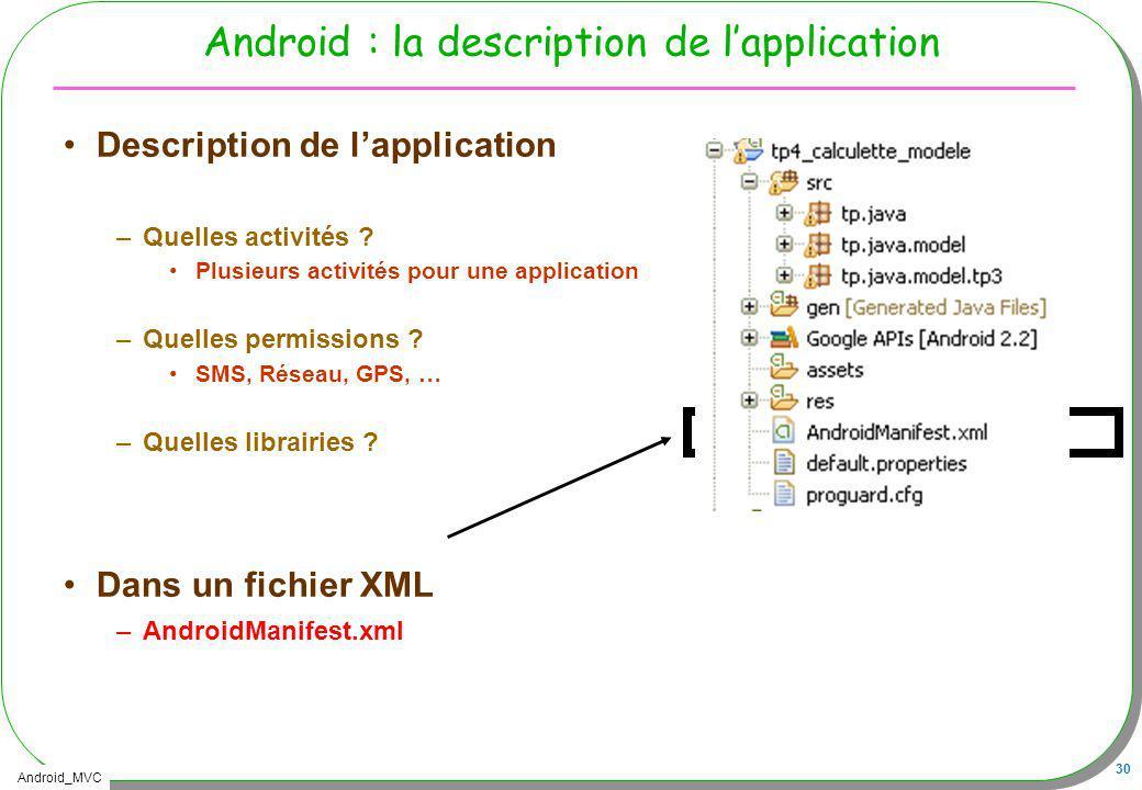 Android_MVC 30 Android : la description de lapplication Description de lapplication –Quelles activités ? Plusieurs activités pour une application –Que
