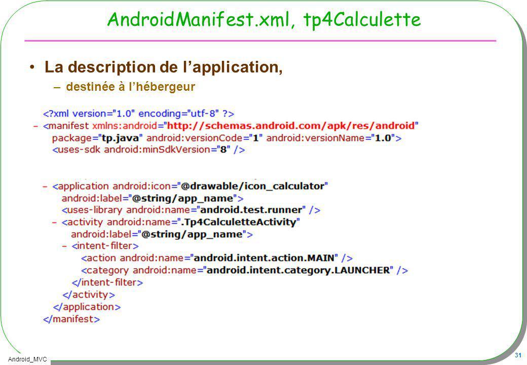 Android_MVC 31 AndroidManifest.xml, tp4Calculette La description de lapplication, –destinée à lhébergeur