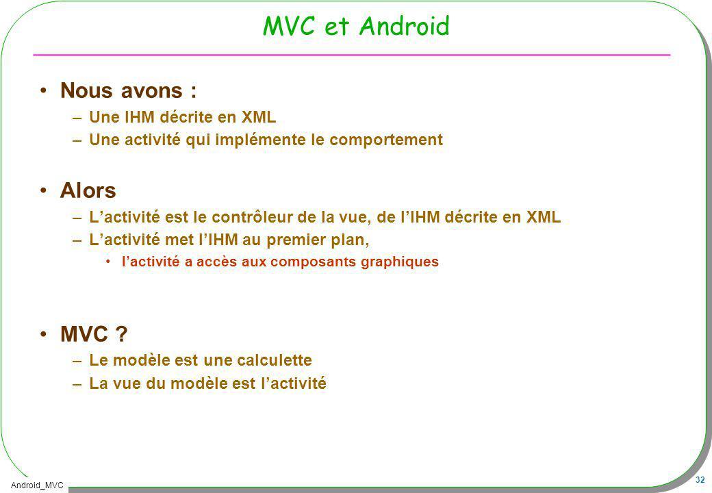 Android_MVC 32 MVC et Android Nous avons : –Une IHM décrite en XML –Une activité qui implémente le comportement Alors –Lactivité est le contrôleur de