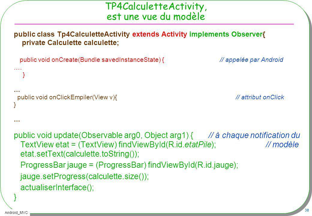 Android_MVC 38 TP4CalculetteActivity, est une vue du modèle public class Tp4CalculetteActivity extends Activity implements Observer{ private Calculett