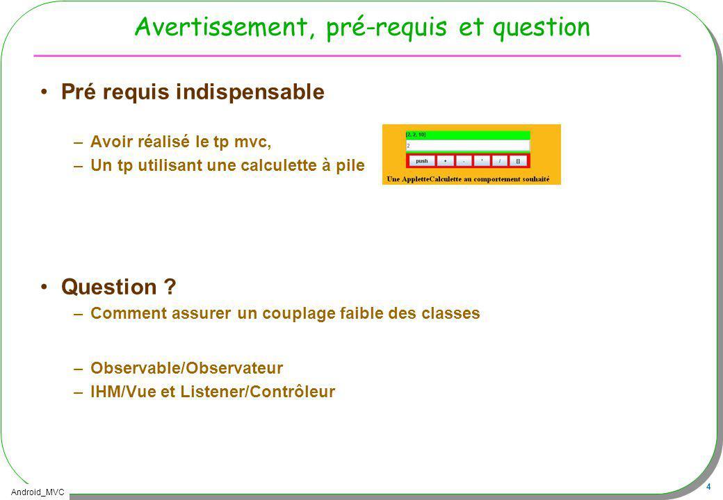 Android_MVC 5 Pré requis, rappel Pré requis –TP Calculette à pile déjà réalisé J2SE Thème : Modèle Vue Contrôleur –http://lmi92.cnam.fr/progAvancee/tp4_2012.jarhttp://lmi92.cnam.fr/progAvancee/tp4_2012.jar Un usage de cette applette à cette URL est fortement conseillé >appletviewer http://jfod.cnam.fr/eicnam/tp_mvc/tp_mvc.html